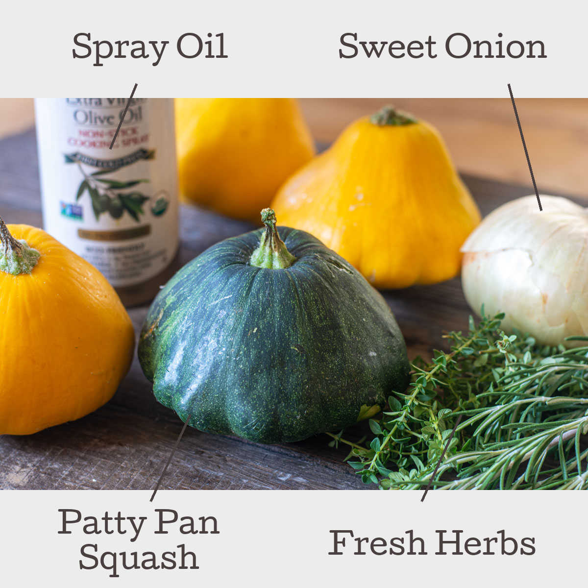 ingredient photo showing different varieties of patty pan squash, an onion, and fresh herbs with labels.