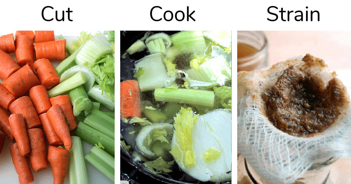 three photos showing cutting vegetables, adding them to the slow cooker and then straining them when it is done