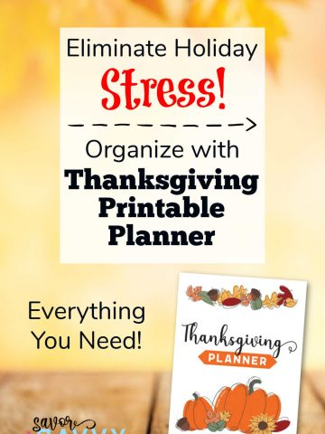autumn colors with a text box on organizing with a thanksgiving printable planner