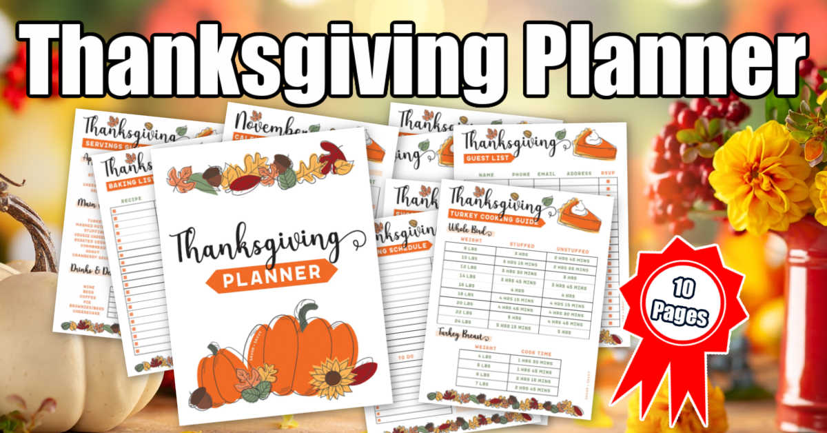 autumn colors in the background and thanksgiving printable planner pages on top