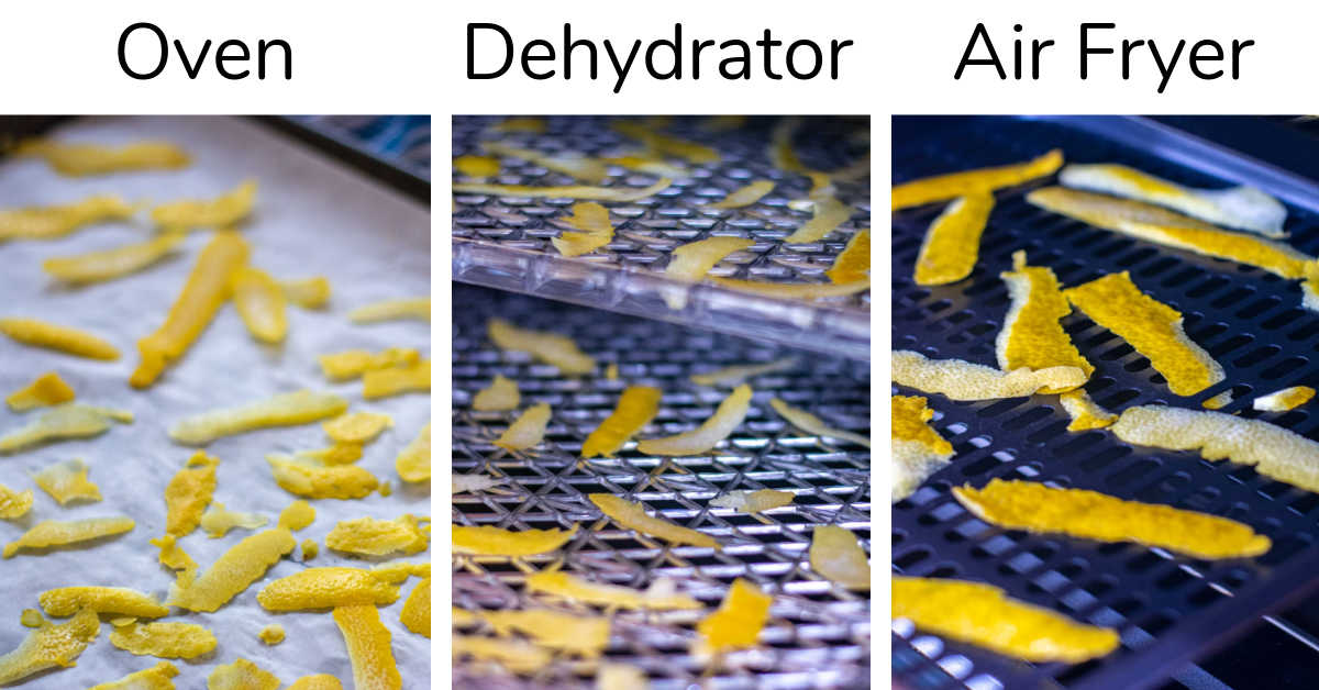 three ways to dry lemon peel in the oven, dehydrator and air fryer.