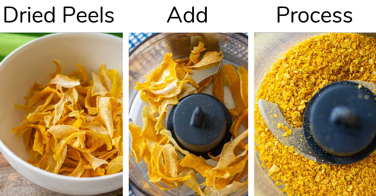 simple steps to chop the lemon peels into a fine powder in a food processor.