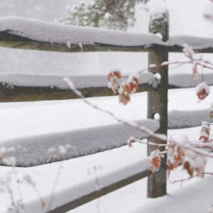 wooden fence in winter covered in snow.