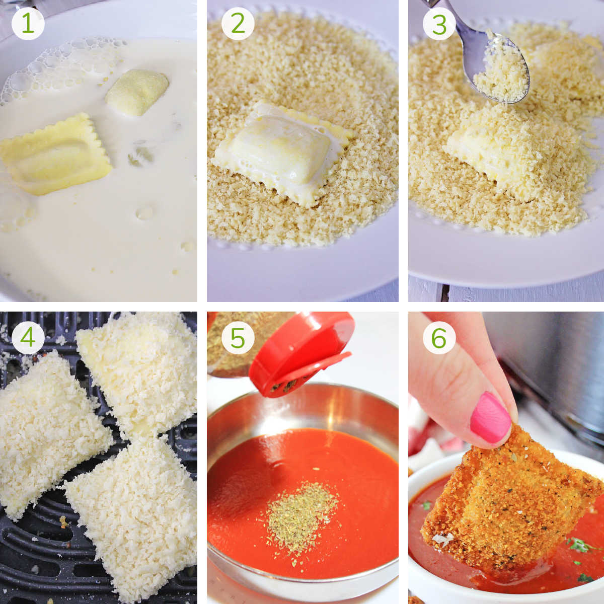 step by step instructions making air fried ravioli and marinara sauce
