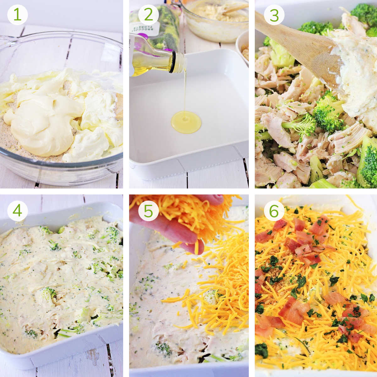 six photos showing the simple process steps to make the casserole