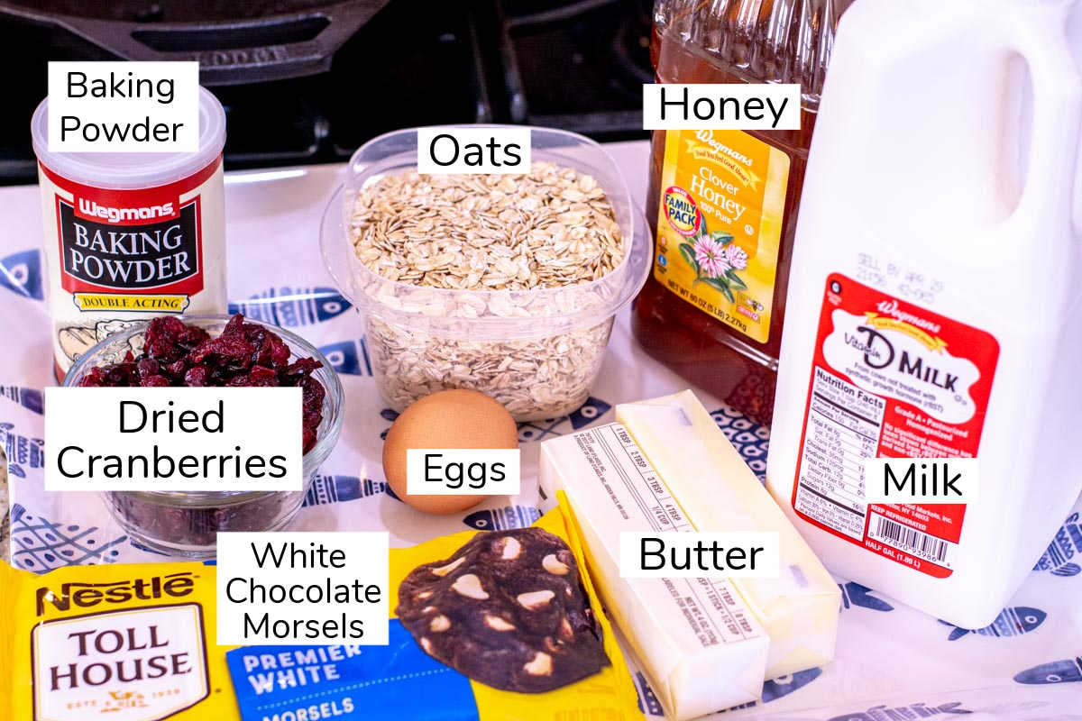 ingredients with labels for baked oatmeal cups