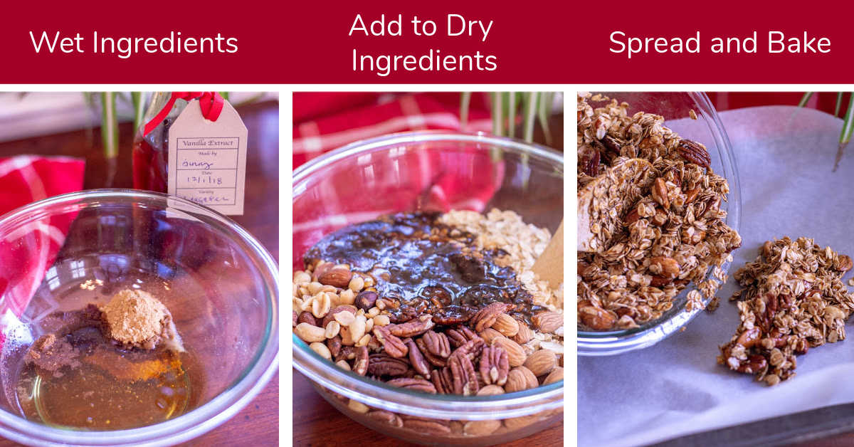 three photos showing the mixing, spreading and baking of the gingerbread granola.