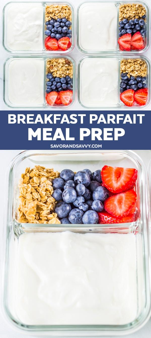 Breakfast Yogurt Parfait Meal Prep {5 Minutes}