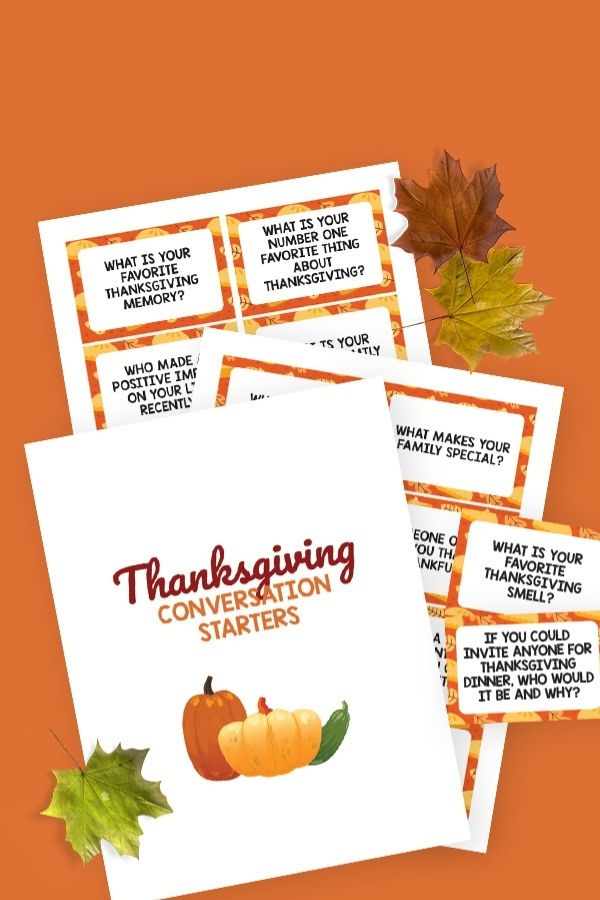 picture of printables for Thanksgiving conversation starter