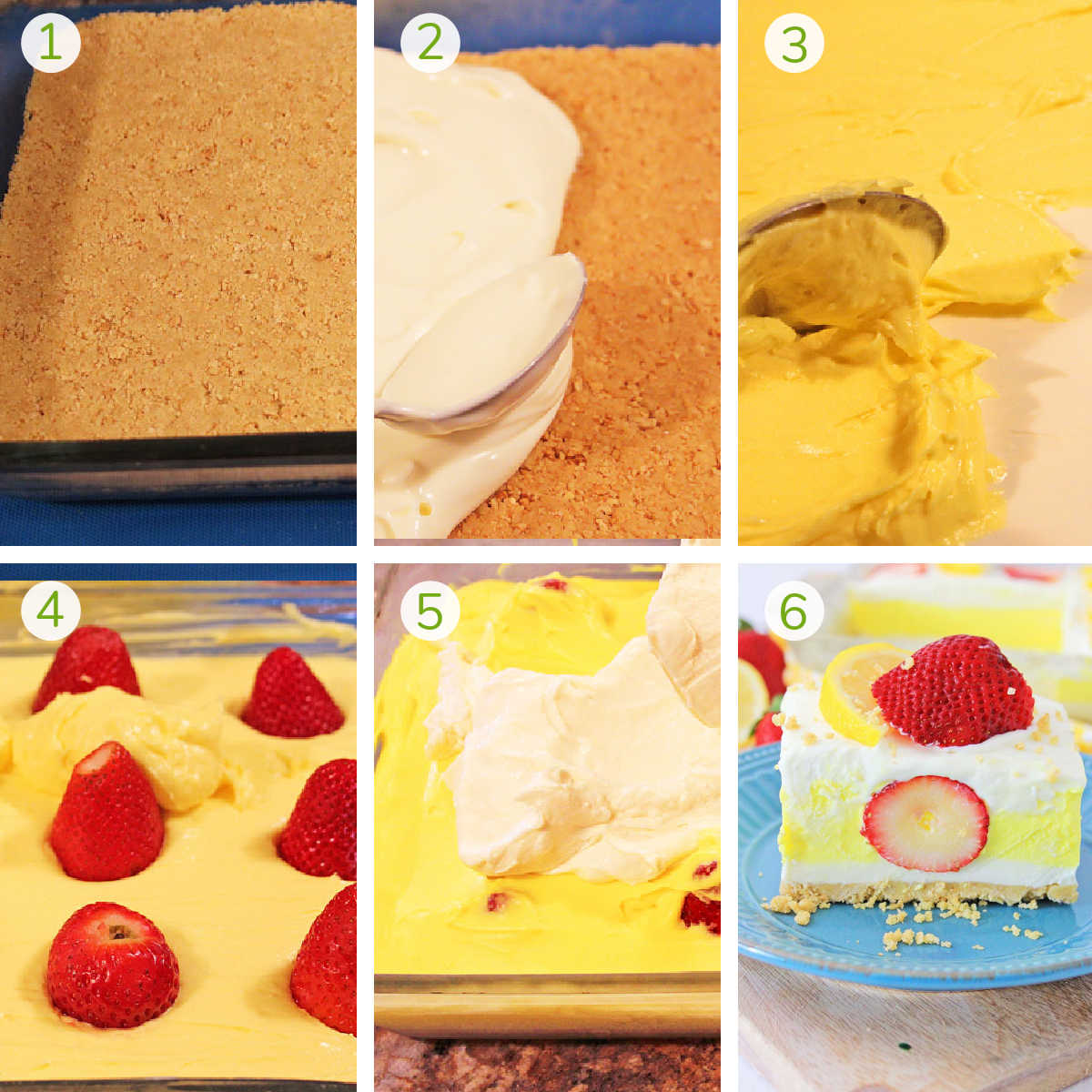 six photos showing the steps to layer the cream cheese bars