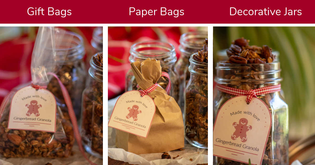 granola in plastic gift bags, paper bags and decorative jars for gift ideas