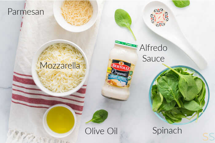 ingredients for the pizza toppings with labels.