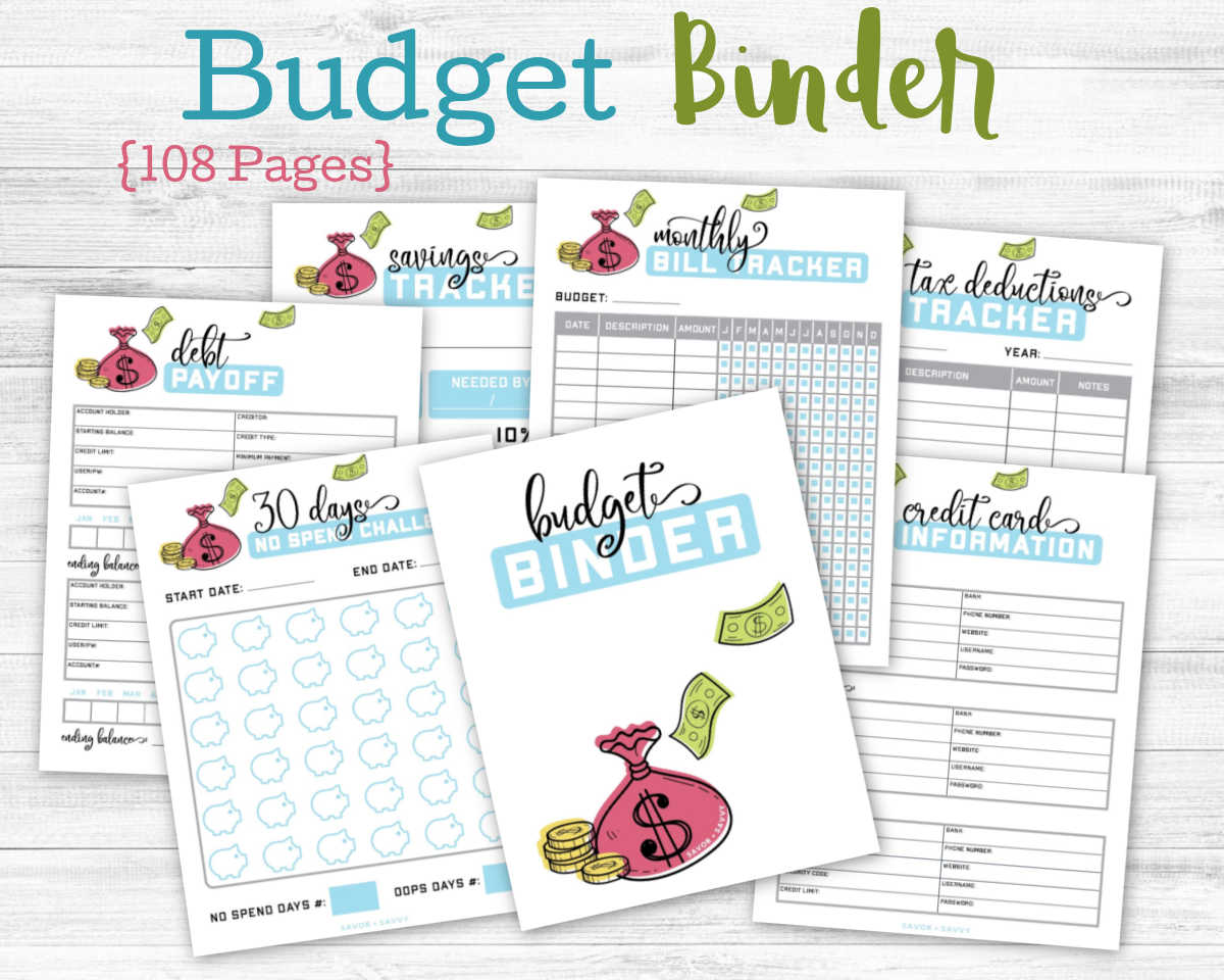 several budget binder pages on a white background.