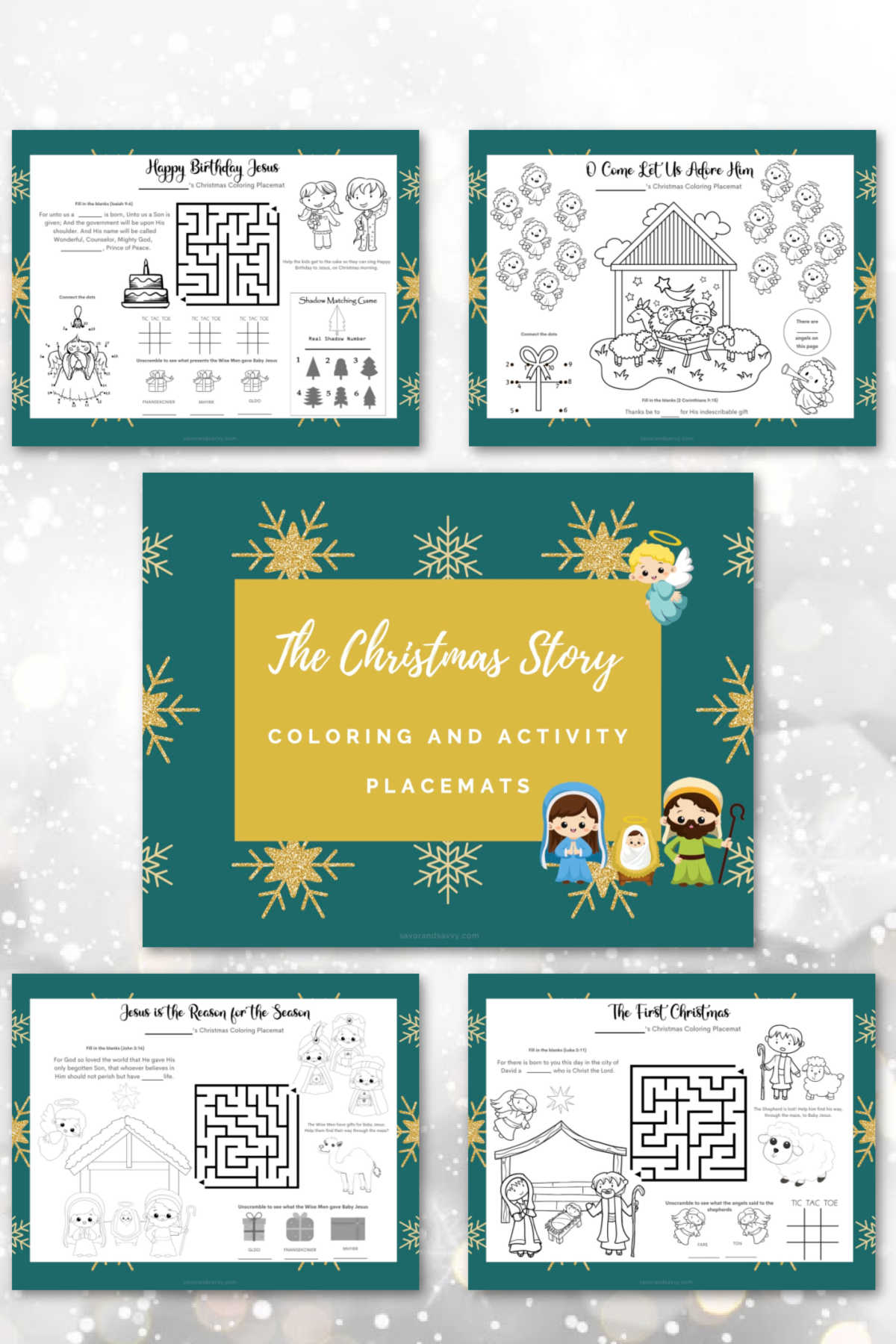 five free printables that are perfect for coloring and each has different activities that help teach the birth of Christ.
