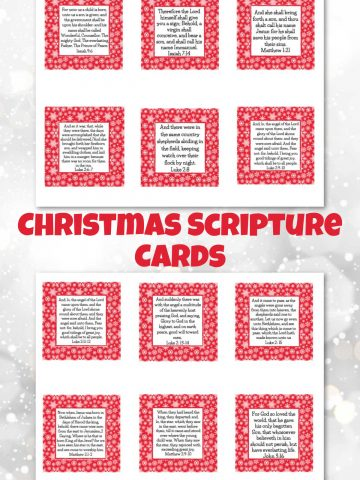 two sheets of Christmas scriptures on white paper that can be cut out for cards.
