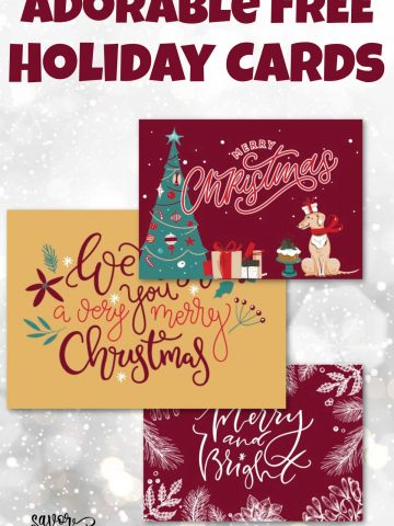 three Christmas cards on a snowy background.