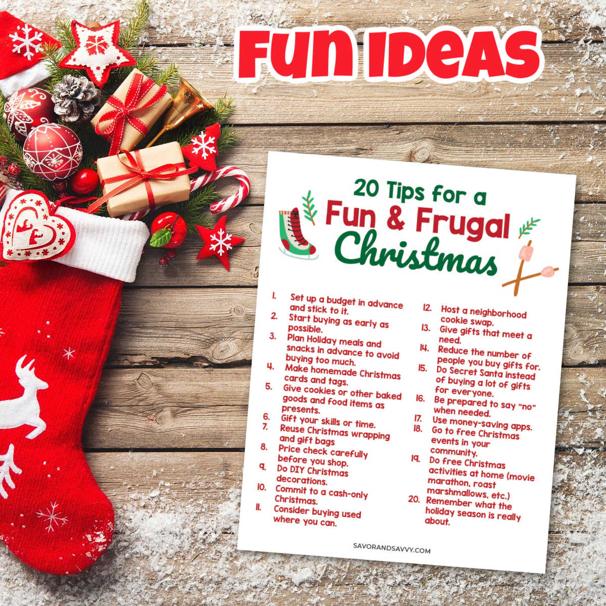 20 Fun and Frugal Things to Do this holiday season printable