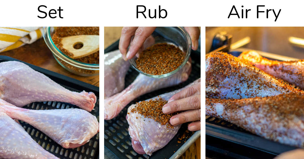 three process shots showing placing the legs on a tray, adding a BBQ dry rub, and then putting it in the air fryer