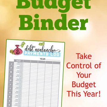 108 page budget binder worksheet and a note that reads take control of your budget this year.