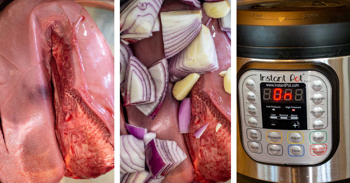 three photos showing how to add the beef tongue and then the onions and garlic to the instant pot.