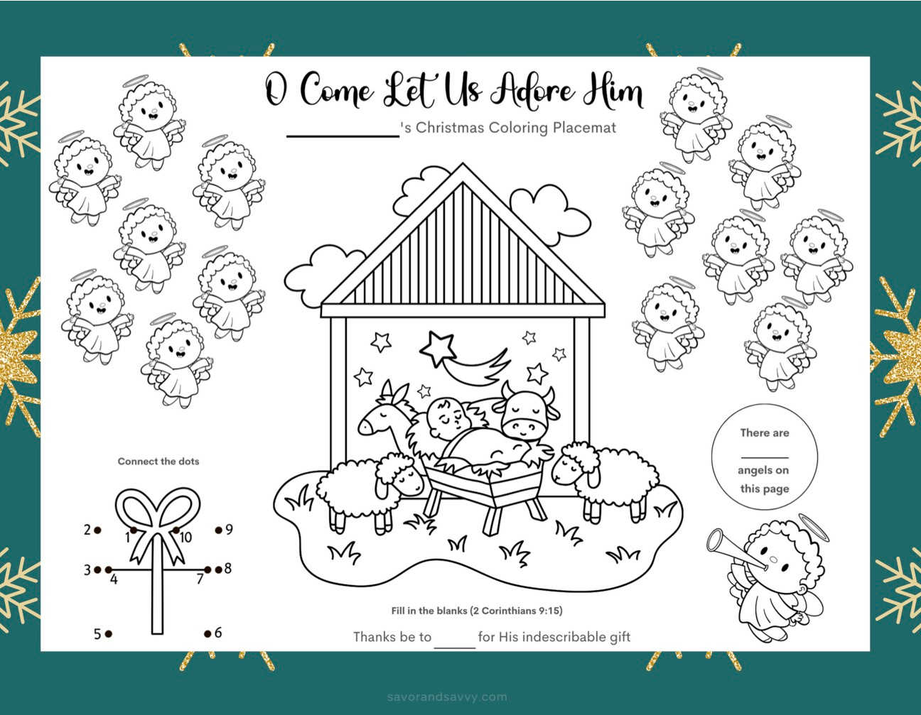 worksheet with angels and the manger and bible verses for children.
