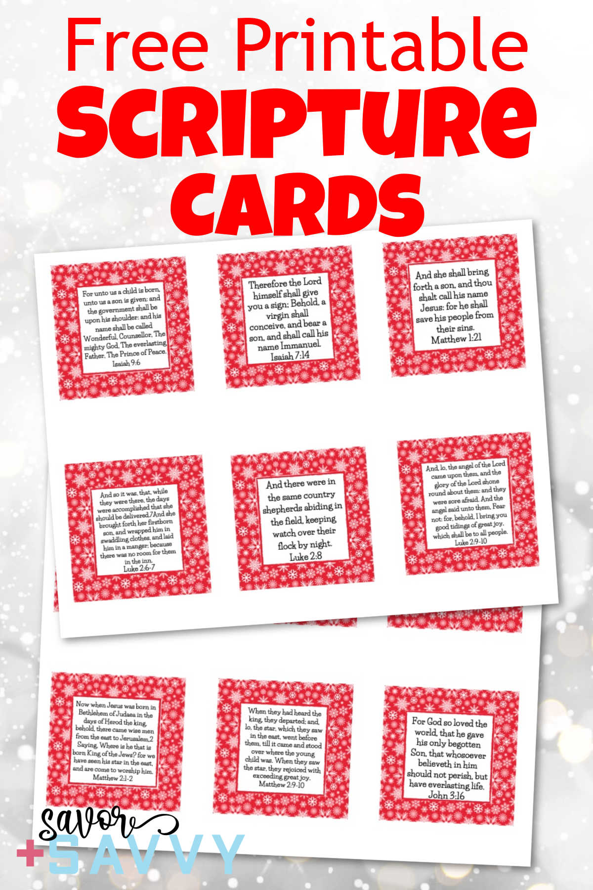 "These scripture cards on a snowy background with title that reads ""Free Printable Scripture Cards."""