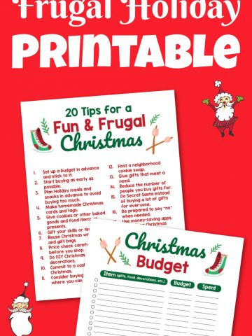 two frugal holiday printables on a bright red background