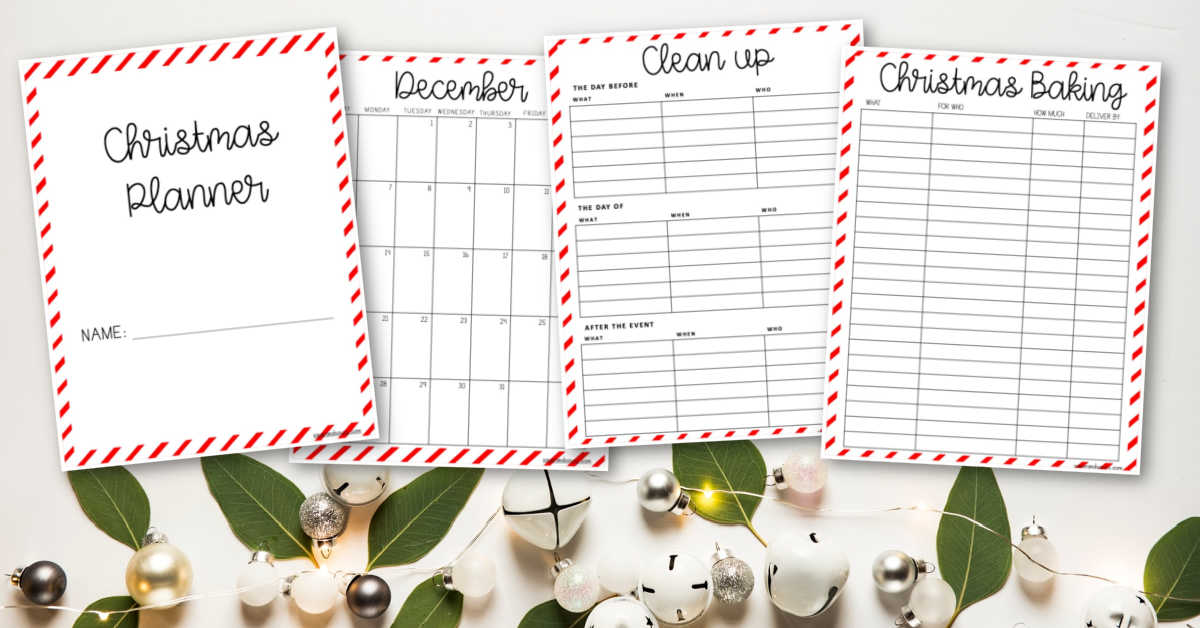 Several printable pages from the Holiday planner.