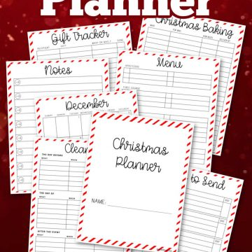 several pages of Christmas planning worksheets on a dark red background.