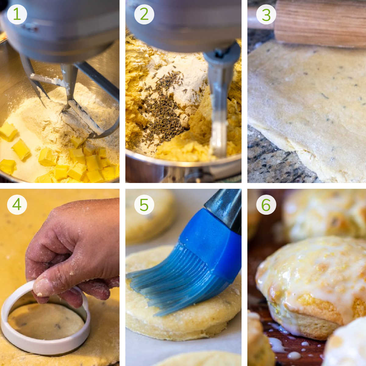 six photos showing how to make the lemon lavender scones including mixing, rolling, cutting, brushing with butter and baking.