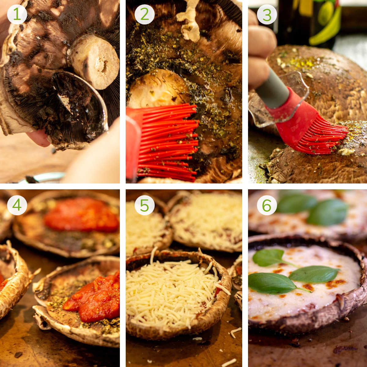 six process photos showing how to remove the gills, brush with a garlic spread, top with tomato sauce, cheese and basil.