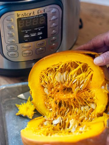 pumpkin cut in half after being in the Instant Pot