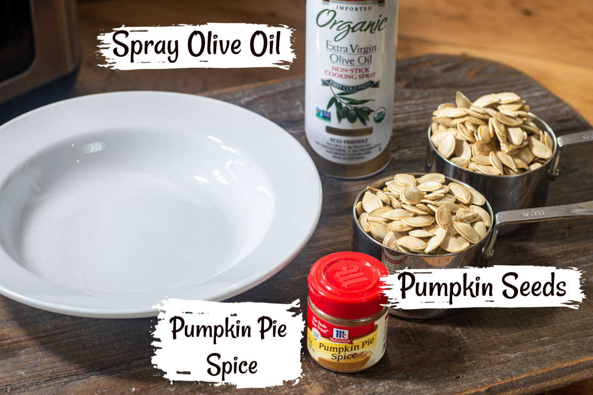several ingredients that are used for the pumpkin pie spiced pumpkin seeds.