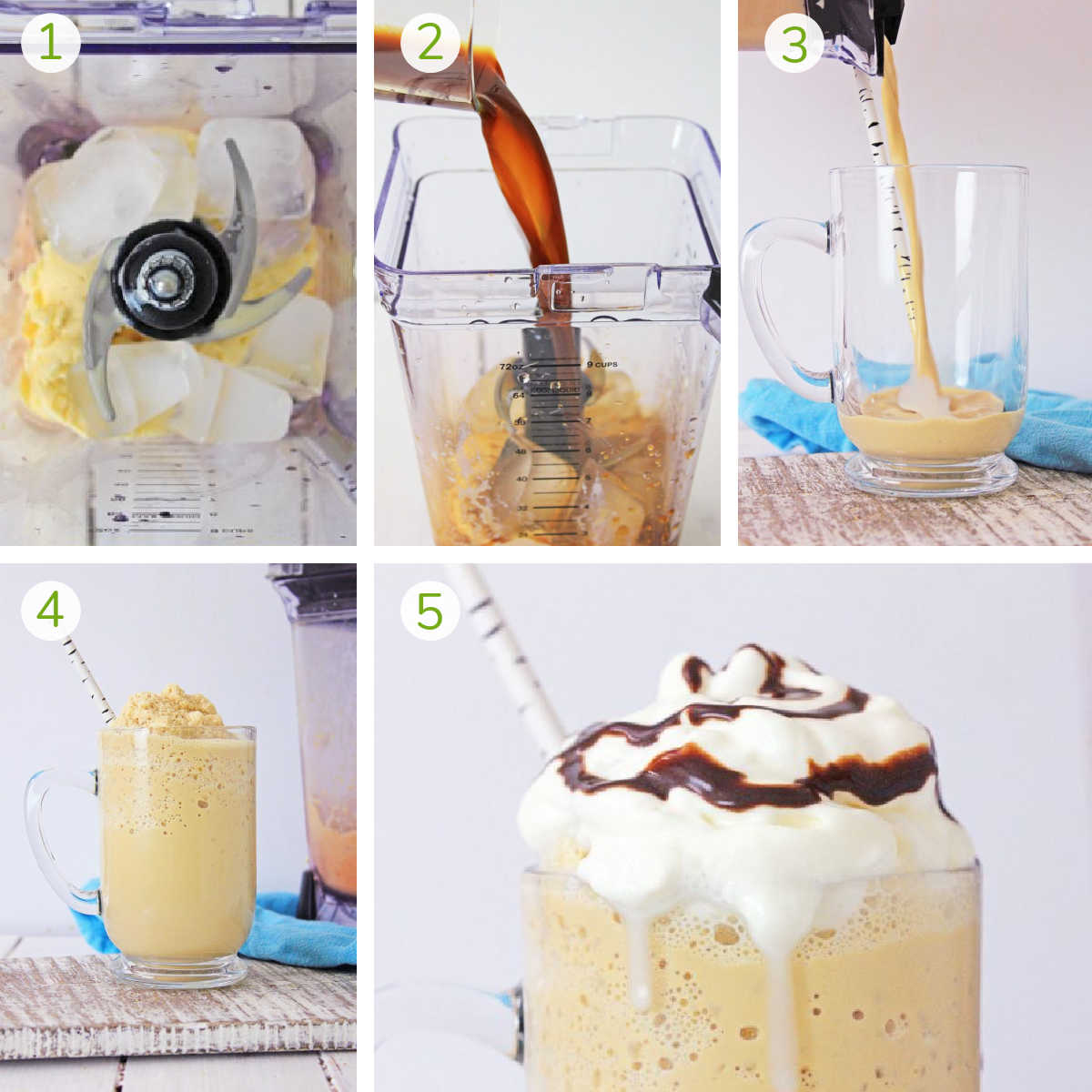 several process photos showing how to blend ice and ice cream, add in strong coffee, and finish making the vanilla Frappuccino