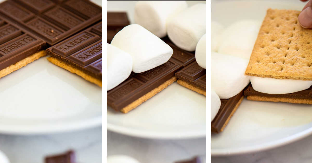 three steps to make the s'mores with regular marshmallows.