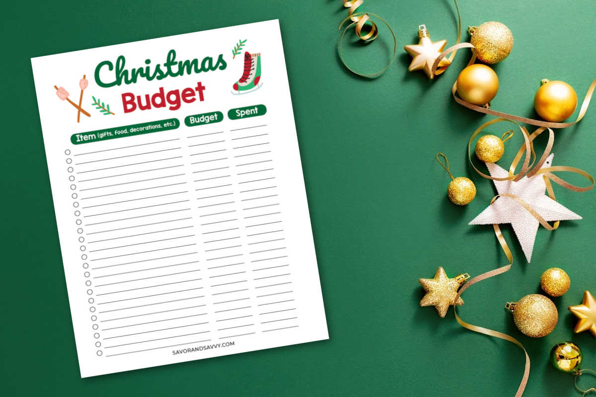 blank Christmas Budget tracker to show what you budgeted versus what was spent