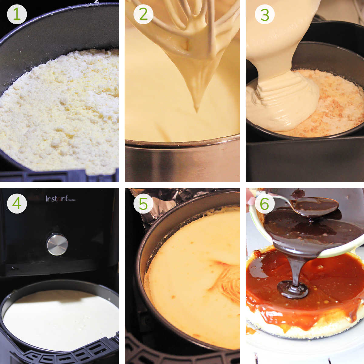 six steps to make a crust, whip the filling, air fry and top the cheesecake with caramel and chocolate
