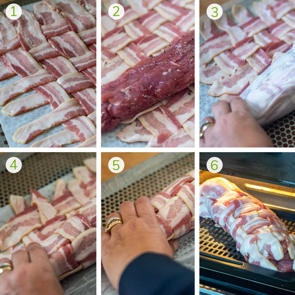 six process shots to show how to weave the bacon, add the pork tenderloin, wrap it and place on the air fryer.