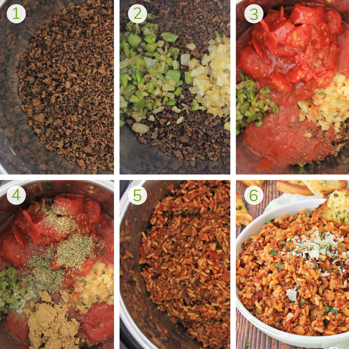 six process shots showing adding the chuck, onions, tomatoes and seasoning to the Instant Pot.