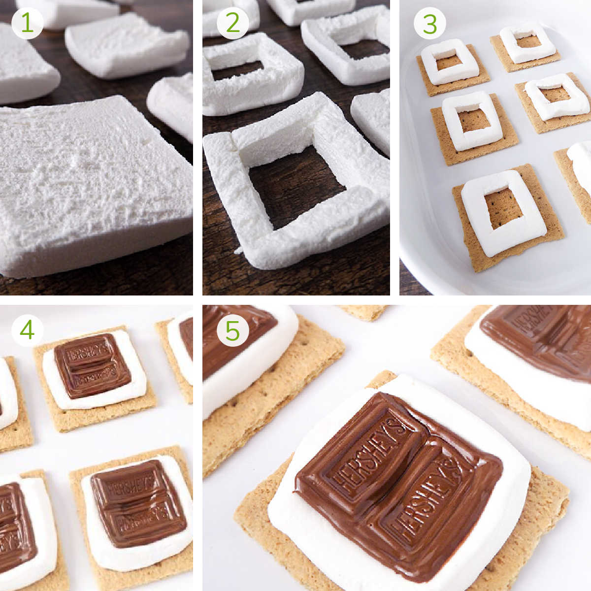 process photos showing how to cur the marshmallow, place it on the graham cracker and fill it with chocolate.