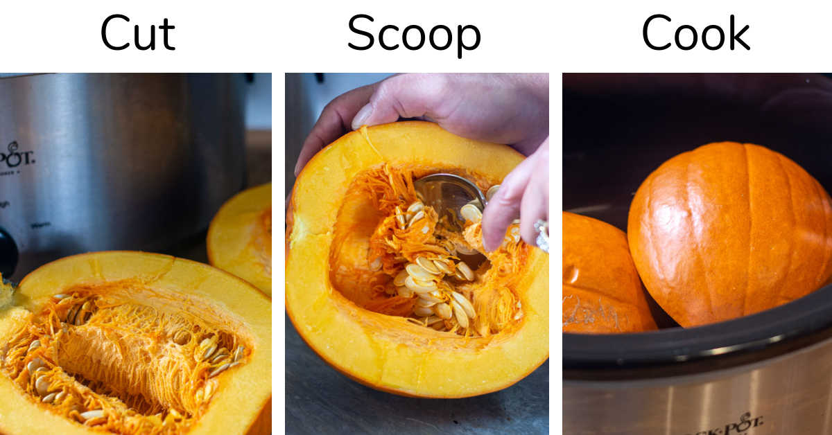 three steps to cook a pumpkin in a Slow cooker.