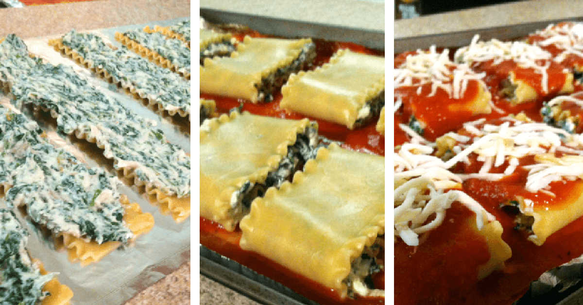 three process shots to create the spinach roll ups.