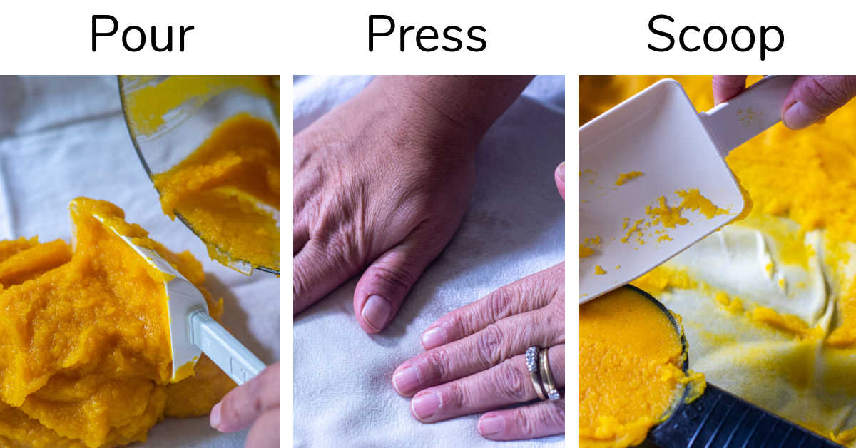 three photos showing pouring the purée, pressing a towel to absorb moisture and then scooping out.