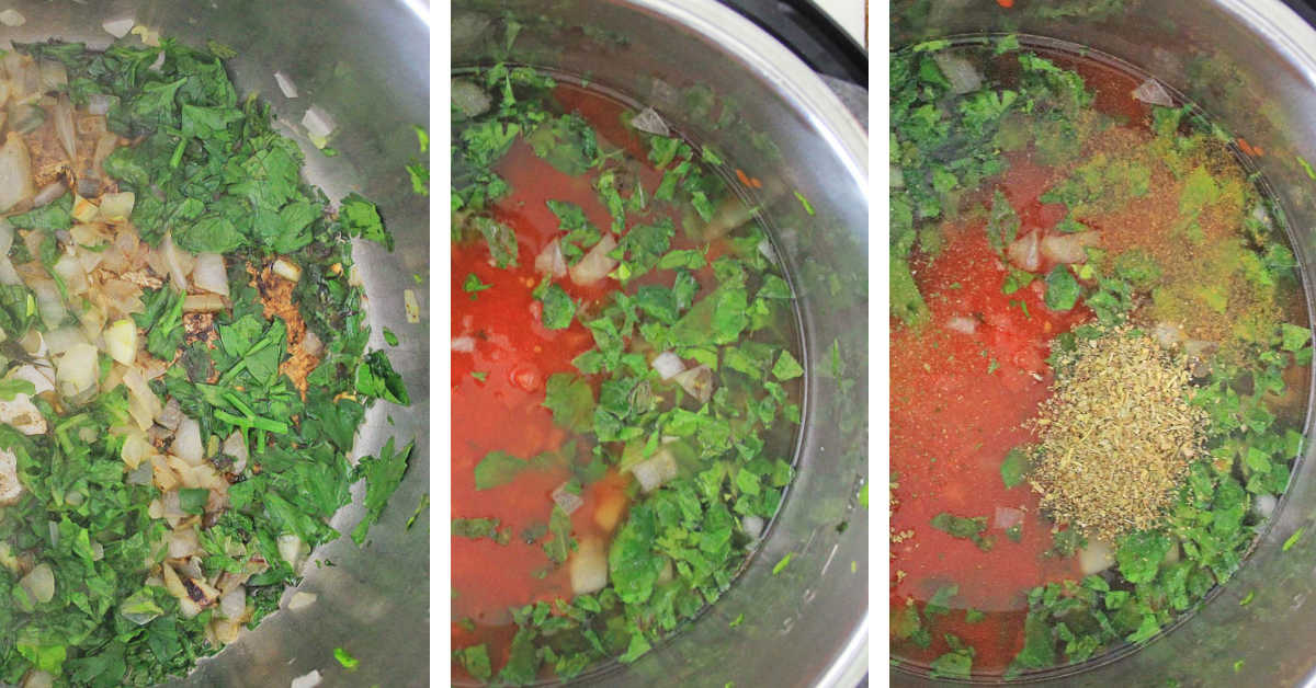 three process shots showing the onions and herbs, adding tomato and broth and then the seasoning