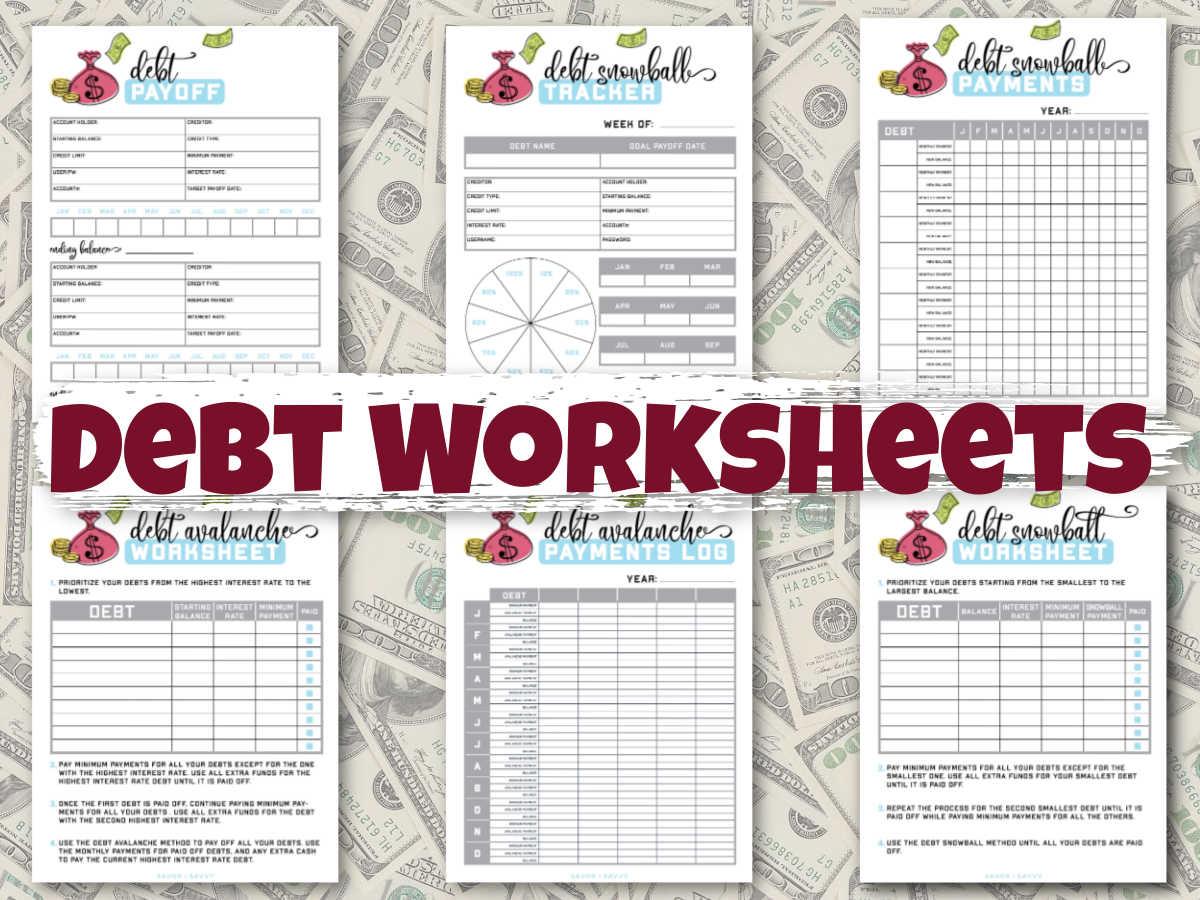 six debt worksheets on a background of dollar bills.
