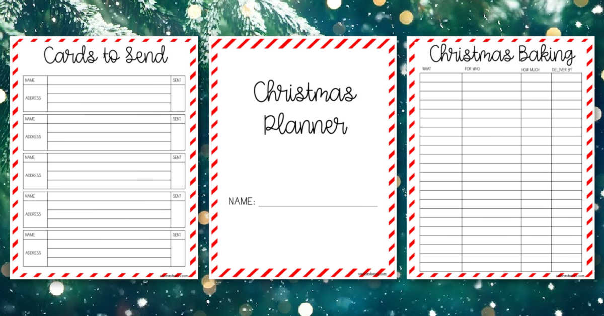 Christmas planner printables on a green snowy background.