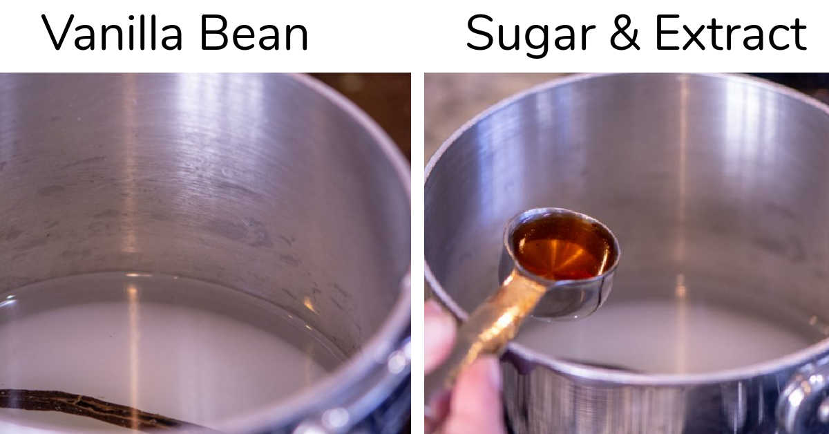 two photos showing the vanilla bean, sugar and extract to make the vanilla syrup