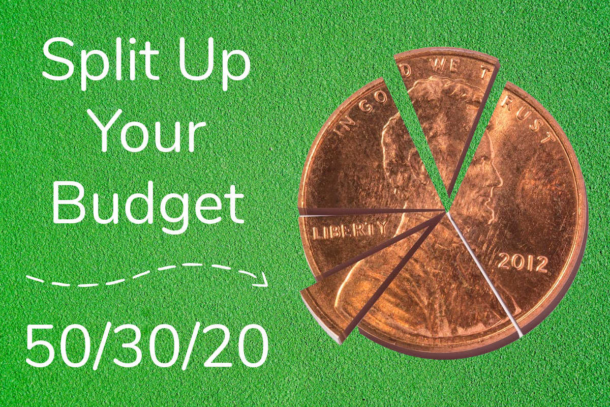penny split into pie pieces and text showing to create the 50/30/20 budget.