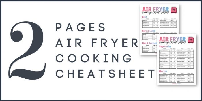 graphic showing the two pages of the air fryer cheat sheet printables.