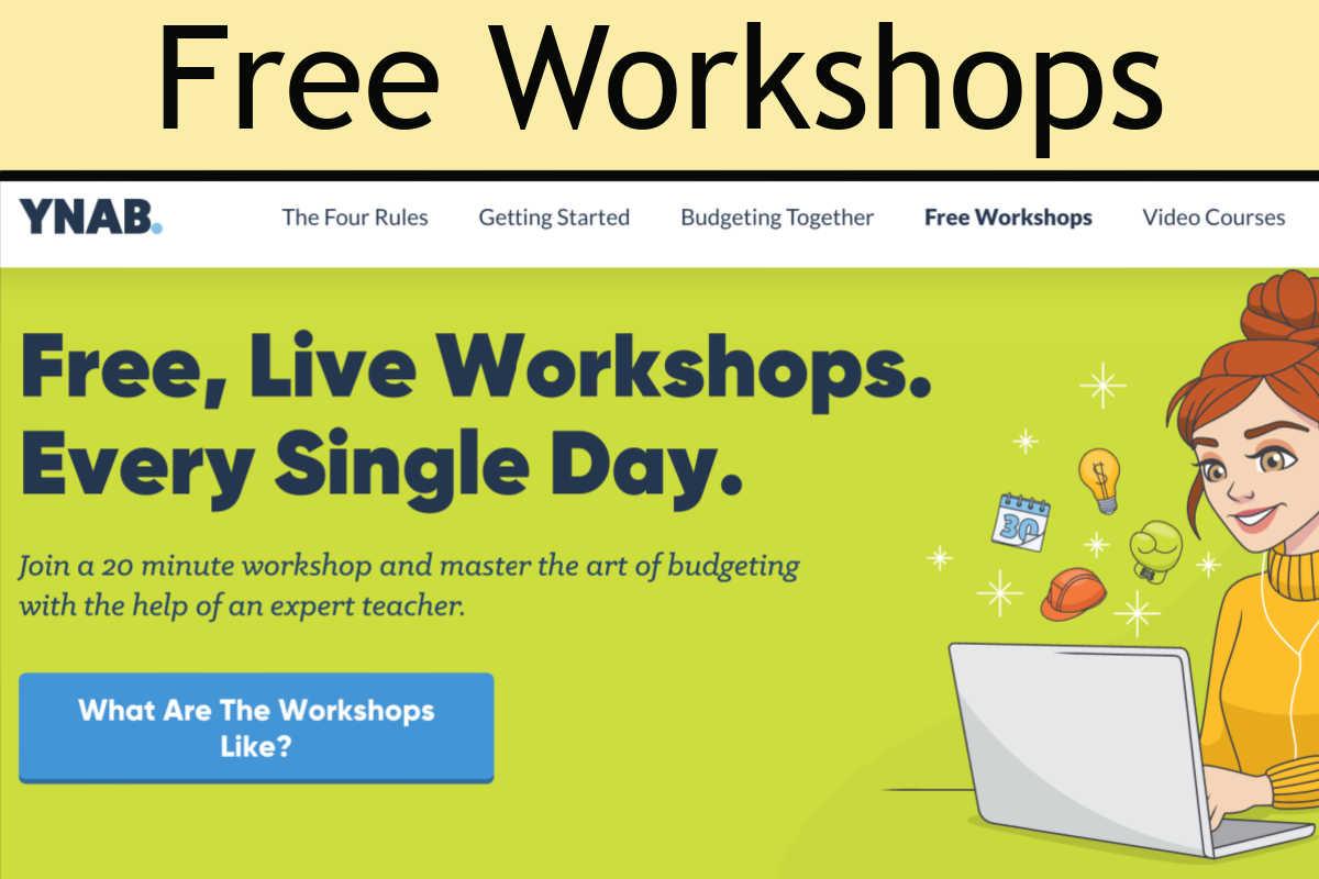 screenshot of YNAB's free trainings and workshops.